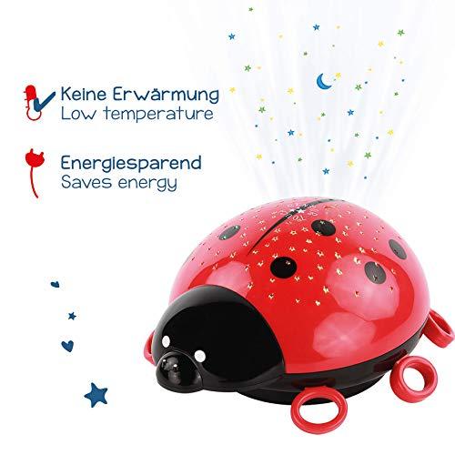 ANSMANN LED Sternenlicht Projektor Marienkäfer/Die zauberhafte Einschlafhilfe mit tollem Farbspiel für ruhigen Tiefschlaf/Nachtlicht Projektor mit Touchsensor für intuitives Ein-& Ausschalten