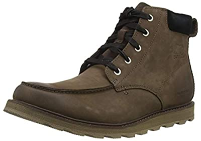 Sorel - Men's Madson Moc Toe Waterproof Boot, All-Weather Footwear for Everyday Wear, Bruno/Black, 10.5 M US
