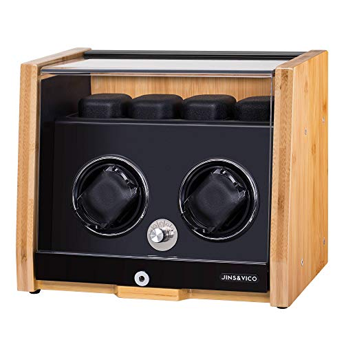 Watch Winder Made of Premium Natural Bamboo Shell for 6 Automatic Watches with High-Gloss Craftsmanship, 4 Setting Modes and Super Quiet Motor, Built-in Lock (Bamboo Pattern)