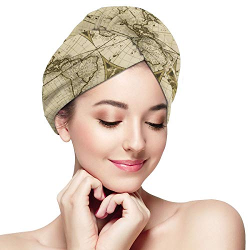 Ancient 19th Century World Map Microfiber Hair Towel Wraps with Button for Women Quick Dry Anti-frizz Head Turban for Long Thick Curly Hair Super Abso