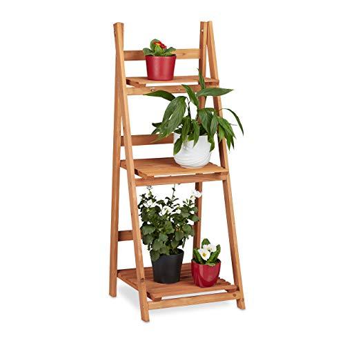 Relaxdays Blumentreppe aus Holz, Blumenständer für innen, 3-stufig, Leiterregal, Klappbar, HBT: ca. 107,5 x 41 x 40 cm, braun