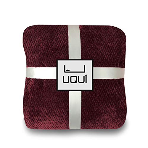 U UQUI Cozy-Soft Microfleece Travel Blanket, 50 x 60 Inch, Wine/Burgundy, Great for Travel or Lounging at Home