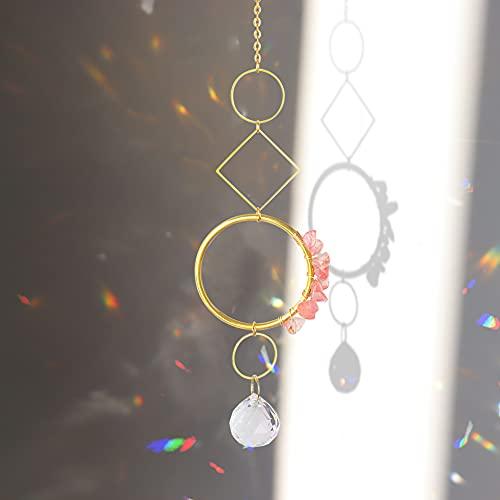 Piklodo Atrapasueños con cristal, bola de cristal prisma atrapasoles, colorida ventana prisma colgante ornamento para jardín, hogar, coche decoración