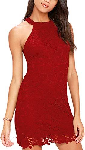 Meyison Damen Sommerkleid Vintage Ärmellos Spitzenkleid Ballkleid cocktailkleid Retro Rockabilly Festlich Partykleid