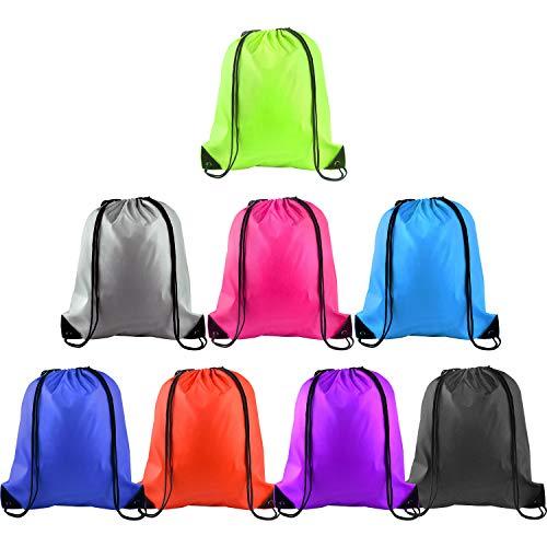 FEPITO 8 Piezas Mochila con Cordón Bolsa de Hilo Tote Sack Bag Cinch Bolsa de Gimnasio Mochila de Almacenamiento para Gimnasio Deporte Almacenamiento de Viaje, 8 Colores