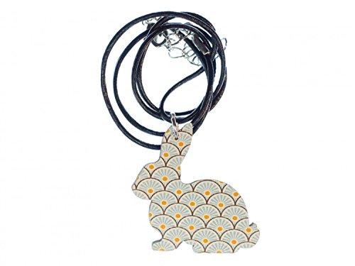 Miniblings Hase Kette Halskette 45cm Leder Osterhase Kaninchen Holz türkis