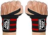MAVIKS Bandes de poignet pour haltérophilie avec boucle de pouce robuste pour homme et femme, pour entraînement de gym, haltérophilie, musculation, musculation – Multicolore (Rouge)