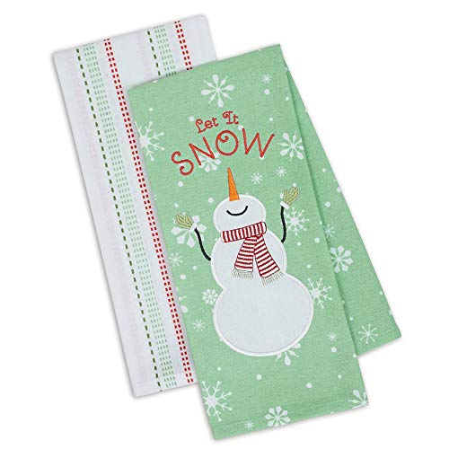 DII Let It Snow Christmas Kitchen Towels Set of 2, 18