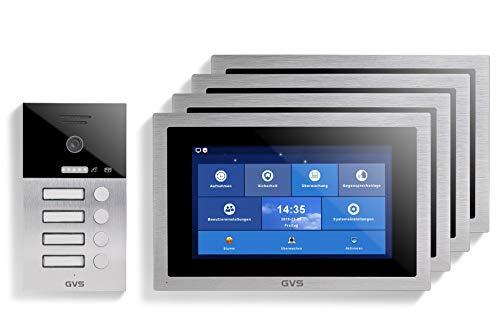 GVS AVS1101U - Videoportero IP de 4 cables, estación de puerta empotrada IP65, monitor de 10 pulgadas, App, cámara HD de 120 °, función de apertura de puerta, 32 GB de memoria, conmutador PoE, 4 casas familiares