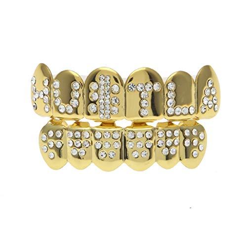 Gib nie auf Echtvergoldung englische Buchstaben Hip Hop Gold-Zahnspange kann frei abgestimmt Werden (Color : Gold, Edition : A)