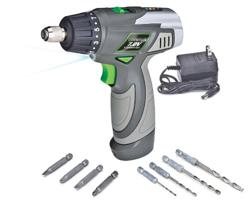 Genesis GLSD72A 7.2V Lithium-Ion 2-Speed Screwdriver, Grey, 1/4-inch chuck with Trigger Activated LED light, Battery Charger, and 8-Piece Accessory Drill and Driver Bit Set