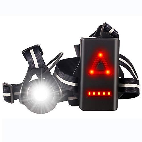 Eclairage de Poitrine pour Course, USB Rechargeable LED Lampe de Poitrine, 500 lumens, angle de faisceau réglable à 90°, Veilleuse de course pour Coureurs, Jogging, Camping, Randonnée pédestre (Black)