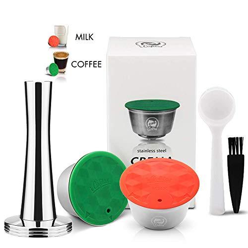 I Cafilas - Caffettiera riutilizzabile riutilizzabile in acciaio INOX per macchine Dolce Gusto, con cucchiaio e spazzola Coffee Pod+Milk Pod+Tmaper
