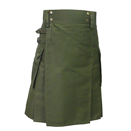 Tartanista - Herren Taktischer Cargo-Kilt mit Taschen - Olivgrün - 86 cm Taillenweite; 58,5 cm Länge