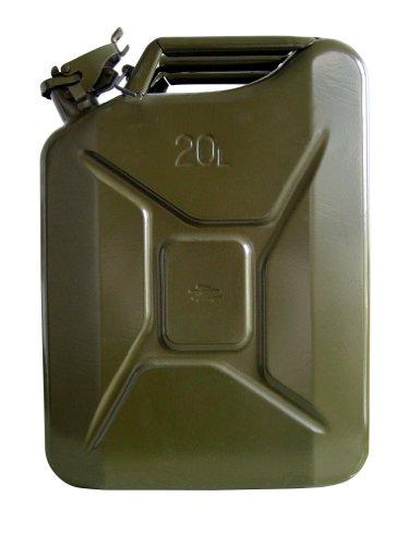 Unitec 73855 Benzinkanister, 20 l, aus Stahlblech, für Treibstoffe aller Art, mit BAM-Zulassung, inklusive Sicherungsstift, grün