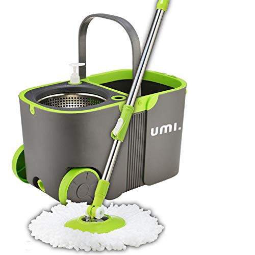 [Amazonブランド] Umi.(ウミ) 回転モップ トルネード ステンレス 洗浄機能付 替えモップ2個付き モップ 床掃除 清掃用品 掃除(緑)
