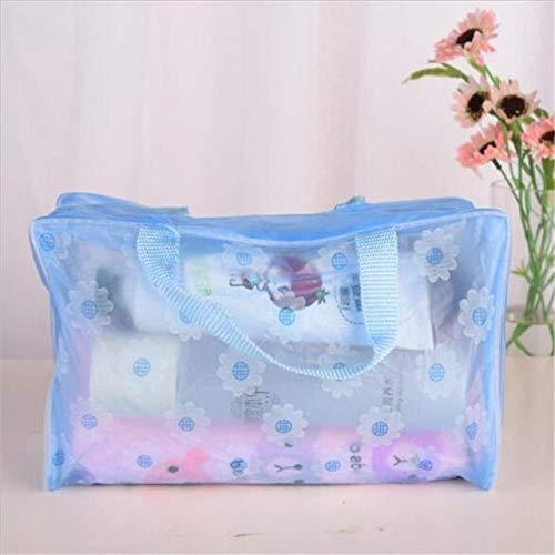 5 Couleurs Make Up Organisateur Sac de Toilette de Bain Sac de Rangement Femmes imperméable Transparent Sac cosmétique Voyage PVC Floral (Color : Blue)