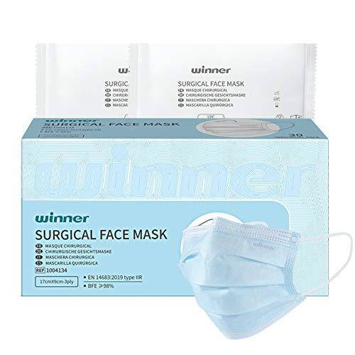 Winner Medical Mascarillas faciales envueltas individualmente de 3 capas Mascarilla quirúrgica desechable tipo IIR, 30 piezas / caja