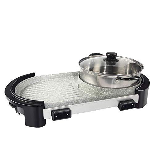 WCZZ Hot Pot Elektroherd, 2850 Watt Abnehmbare Steuerung Gewächshaus innen - Outdoor-Elektrogrill, 5-Gang-Einstellung Automatische Temperaturregelung Barbecue Creative Home,Weiß