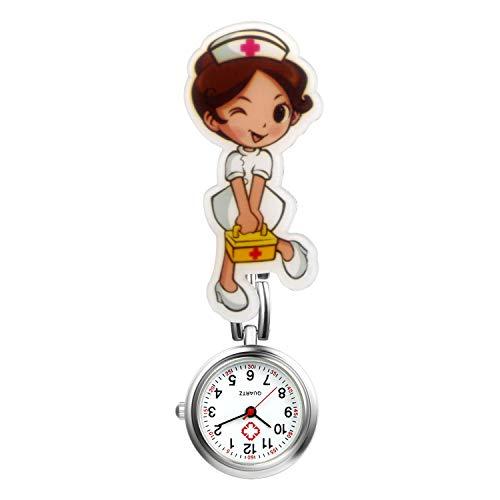 LANCARDO Uhren, Krankenschwester Armbanduhr FOB-Uhr Damen Taschenuhr Analog Quarzuhr aus Legierung LCD037P026 (Typ 3)