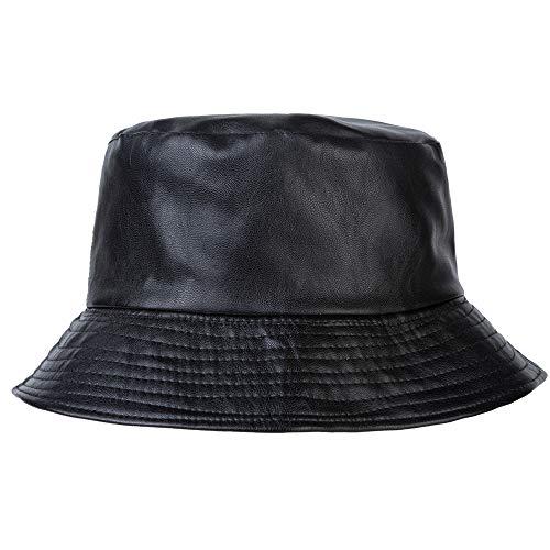 ZLYC Unisex Fashion Bucket Hat PU-Leder Regenhut wasserdicht (Schwarz),Einheitsgröße