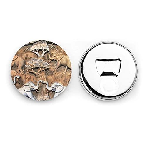 Nature Elephants Round Bottle Openers/Fridge Magnets Stainless Steel Corkscrew Magnetic Sticker 2 Pcs