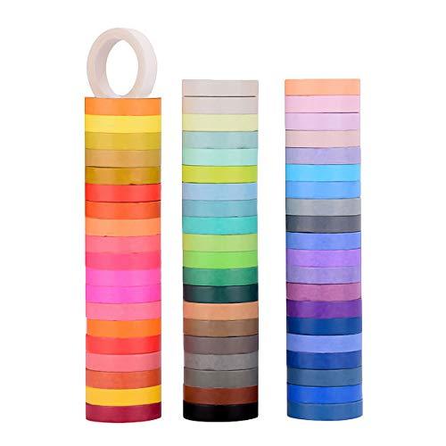 JTOOYS Washi Tape Einfarbiges Regenbogenband, 60 Farben 8 mm Papierband-Box-Set, Regenbogenaufkleber-Dekorband, Kindergeschenke, für Heimwerker