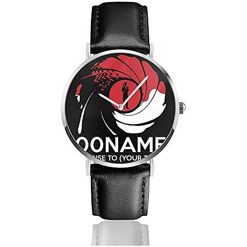 Licencia Personalizada James Bond 007 para Sus Relojes de Texto Reloj de Cuero de Cuarzo con Correa de Cuero Negro para Regalo de colección