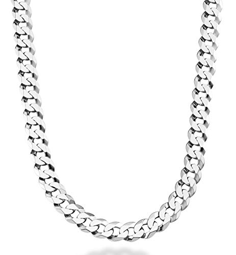 Miabella Solid 925 Sterling Silver Italian 9mm Solid Diamond-Cut Cuban Link Curb Chain Necklace for Men 18, 20,22, 24, 26, 30 Inch Made in Italy (24)