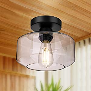 Semi Flush Mount Ceiling Light, 900 Lumen LED Bulb Included, Ceiling Light Fixture, Farmhouse Light Fixture with Clear Glass Lamp Shade for Bedroom Hallway Dining Room Bathroom Corridor Passway