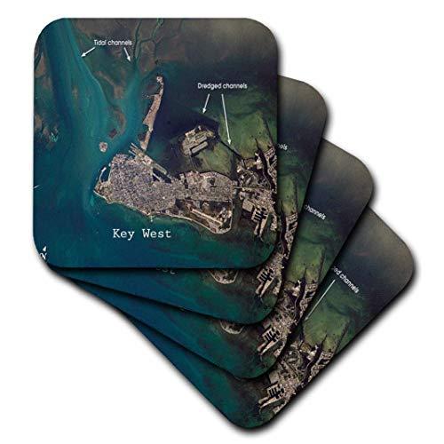 3dRose Florene, Nautical Map Dekor–Print of Antenne View Key West us-pd Gov NASA–Untersetzer, Gummi, set-of-4-Soft