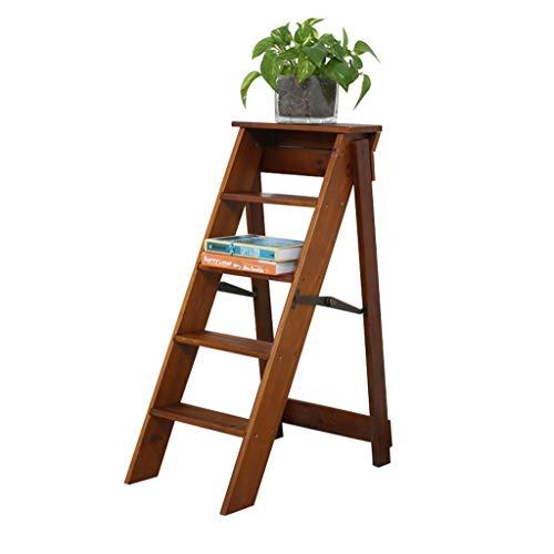 Escalera Plegable de Madera de 5 Pasos Ligero portátil para niños Adultos para baño en casa Decoracion,Altura 87 cm