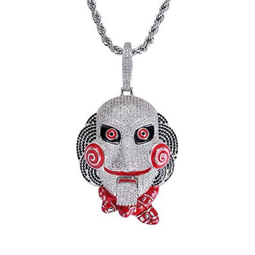 FIZZENN Hip Hop Saw Mask Puppe Anhänger Unisex Iced Out Kristall Halskette mit 60Cm Edelstahl Kette Halskette Set,Silber