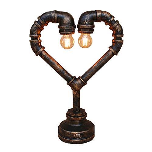 Retro Loft Love Fluitje tafellamp van smeedijzer, industriële stijl, nostalgisch, tafel, licht, café, slaapkamer, nachtkastje, van ijzer, in hartvorm, bureaulamp.