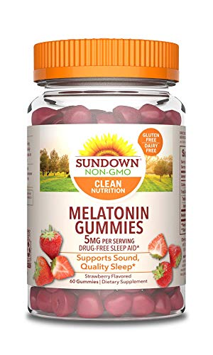 Sundown Melatonin 5 Milligram Gummies (Count 60), Strawberry Flavored, Supports Sound Quality Sleep*, Non-GMOˆ, Free of Gluten, Dairy, Artificial Flavors, 60 Counts