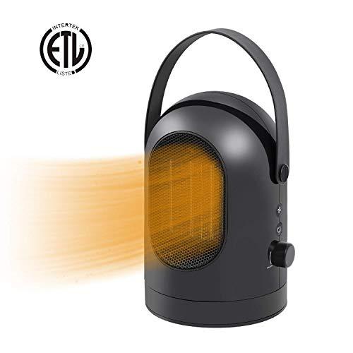 Charlemain Calefactor Eléctrico,Calefactor Portátil de oscilante de PTC Cerámica oscilación automática de 30°,Calefactor Ventilador pequeño,Mini Calentador 600W con Viento cálido y Natural (Negro)