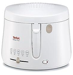 Tefal FF1000 Maxi Fry Fritteuse (1.900 Watt, Kapazität 1,2 kg, Fritteuse mit Öl, wärmeisoliert, regelbare Temperatur, automatische Deckelöffnung, knusprige Pommes, leichte Reinigung) weiß