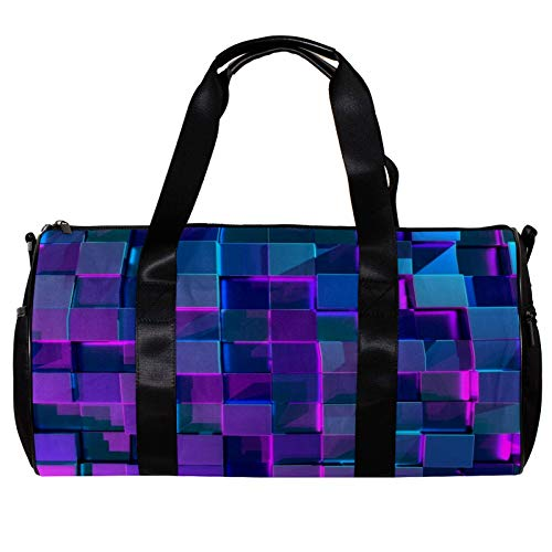 Round Gym Sports Duffel Bag With Detachable Shoulder Strap 3D Glowing Cubes Training Handbag Overnight Bag for Women And Men
