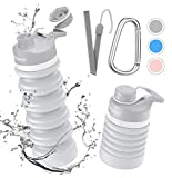 Collapsible Foldable Water Bottle - BPA Free FDA Approved Portable Reusable Leakproof Silicone...