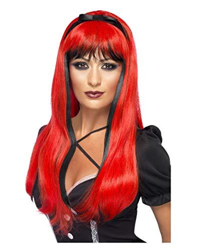 Horror-Shop Cosplay perruque de sorcière rouge/noir