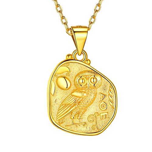 Men Women Gold Greek Coin Necklace, 18K Gold Plated Vintage Dainty Athena & Owl Irregular Pendant Necklace Goddess of Wisdom Greek Mythology Jewelry