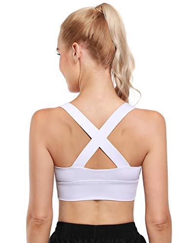 OUGES Womens Sport Bra Criss-Cross Back Wirefree Workout Yoga Fitness Bra Padded Medium Support with Removable Cups(Pure White,L)