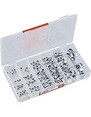 Werkzeyt Zekeringsmoeren assortiment 195-delig - diverse maten in set (M3/M4/M5/M6/M8/M10) - verzinkt - voorgesorteerd in praktische kunststof doos/borgmoeren/assortimentsdoos / B34158