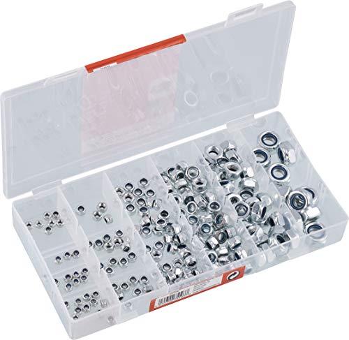 Werkzeyt Sicherungsmuttern-Sortiment 195-teilig - Diverse Größen im Set (M3/M4/M5/M6/M8/M10) - Verzinkt - Vorsortiert in praktischer Kunststoffbox / Sicherungsmuttern / Sortimentskasten / B34158