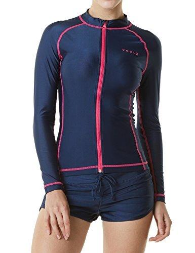 TM-FSZ01-NVY_X-Large Tesla Women's UPF 50+ Zip Front Long Sleeve Top Rashguard Swimsuit