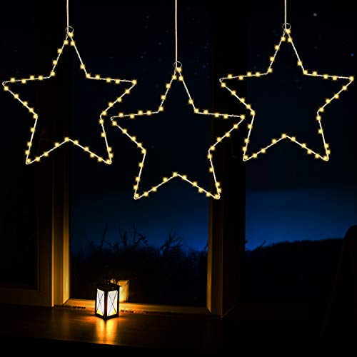 Joiedomi 3Pack Christmas Window Star Lights with Timer Battery Operated 8 Lighting Modes 3 Remote Controls for Xmas Home Party Garden Patio Porch Indoor Outdoor Decor, Warm White