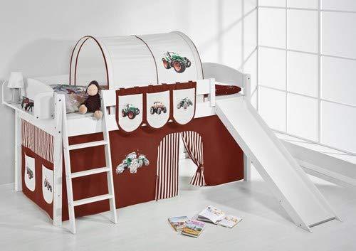 Lilokids Spielbett IDA 4105 Trecker Braun Beige-Teilbares Systemhochbett weiß-mit Rutsche und Vorhang Kinderbett, Holz, 208 x 220 x 113 cm