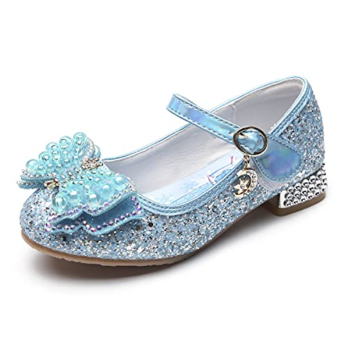 Eleasica Zapato de Princesa Cenicienta Azul Princesa Aurora Bailarina Rosa Zapato con Mini tacón Plateado Reina Elsa Perla Diseño de Mariposa Zapato de Lentejuelas para niña Regalo de cumpleaños
