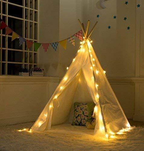 Vercico Luces de hadas Batería de interior Dormitorio para niños Luces LED para niños Teepee Tienda de campaña Juego de niños Tienda de campaña Decoración de fiesta