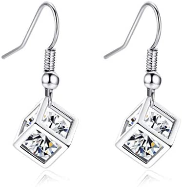 YAZILIND Earring Cube Dangle Drop Earrings for Women with Gemstones Birthday Valentine Anniversary product image